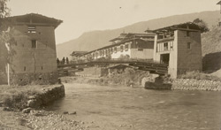 Bridge over the Thimbhu Chhu at Tashi-chhu Jong [Thimphu, Bhutan]